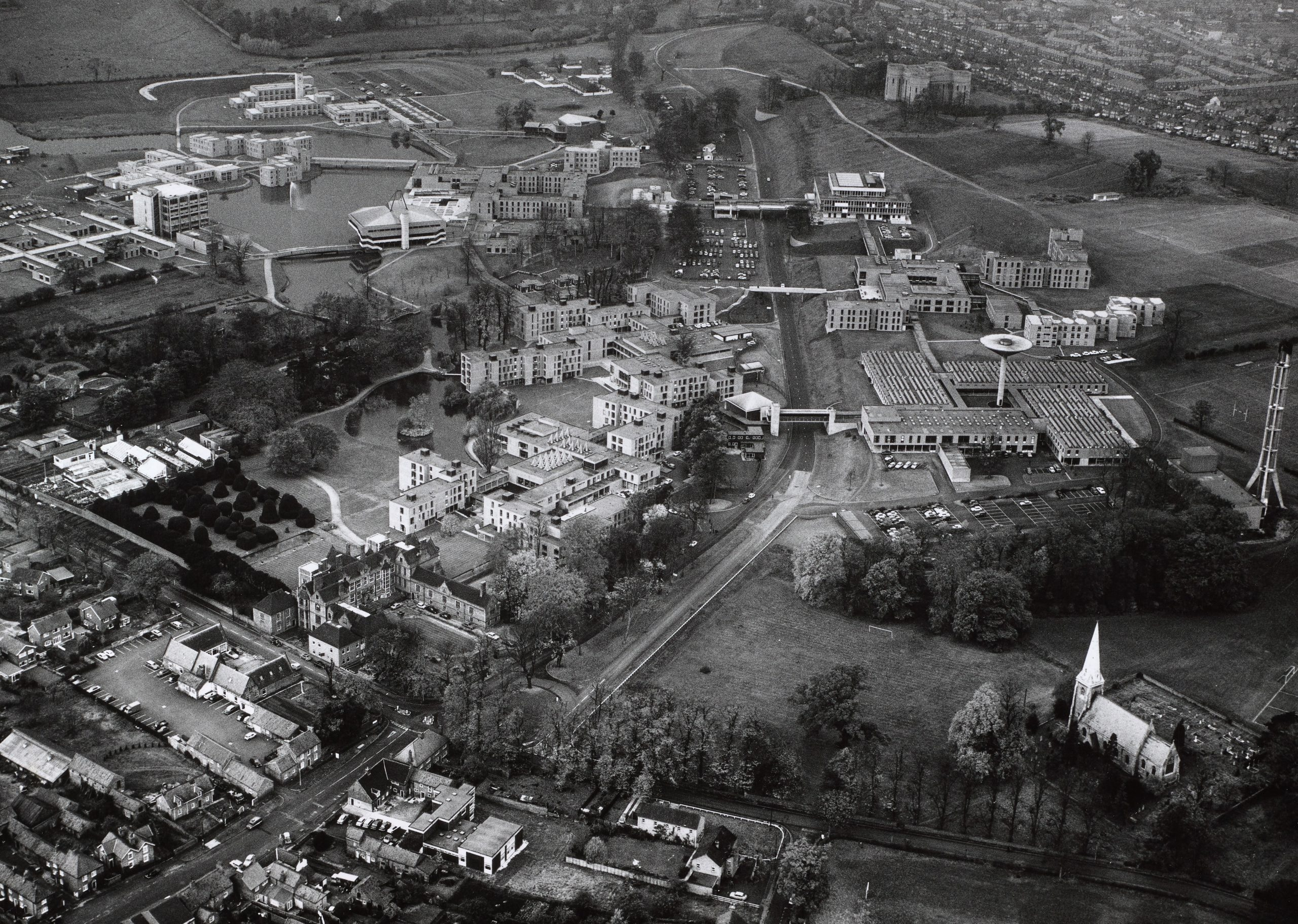 A black and white arial image of the University of York.